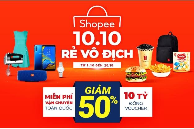 Shopee – Lễ hội khuyến mãi 10.10 – Rẻ vô địch