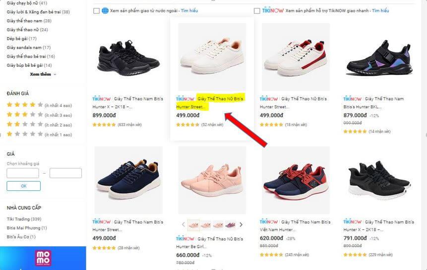 Bước 2. Chọn sản phẩm giày Bitis Hunter cần mua