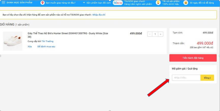 Bước 5. Nhập mã giảm giá Tiki Bitis Hunter