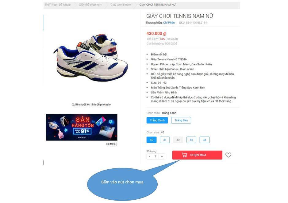 Bước 2. Nhấn vào nút chọn mua