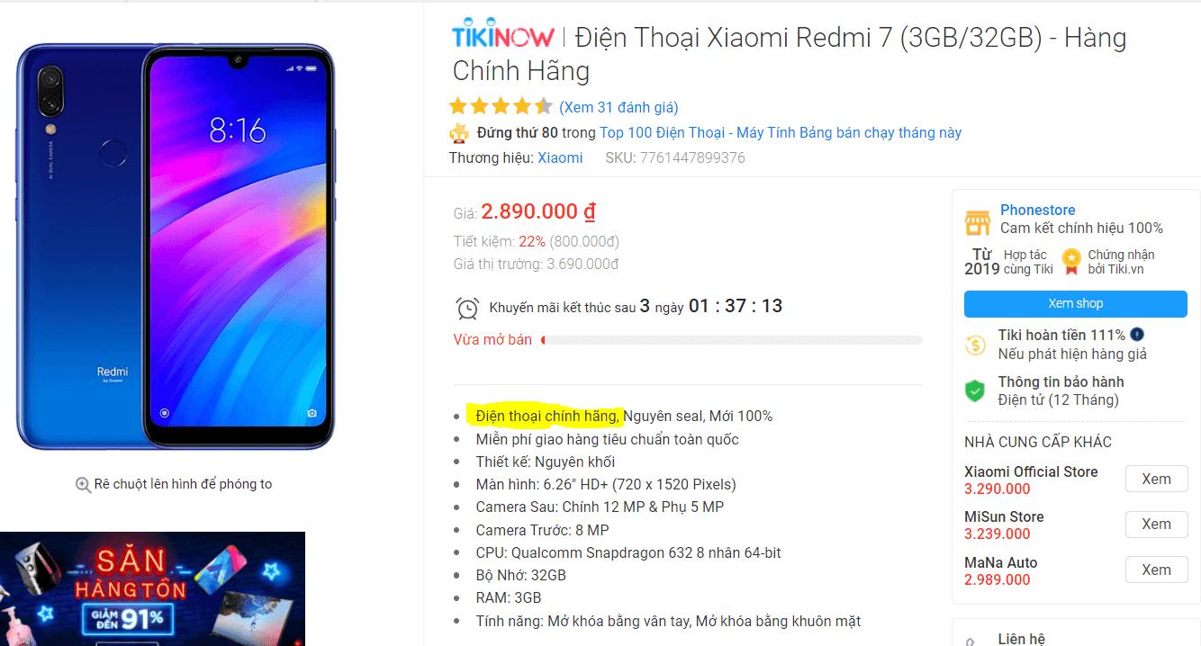 Điện thoại Xiaomi chính hãng