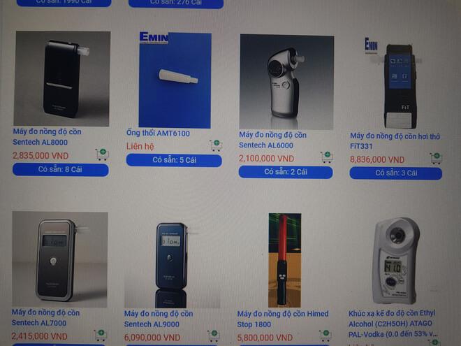 Giá bán một số máy đo nồng độ cồn tham khảo trên một website công ty