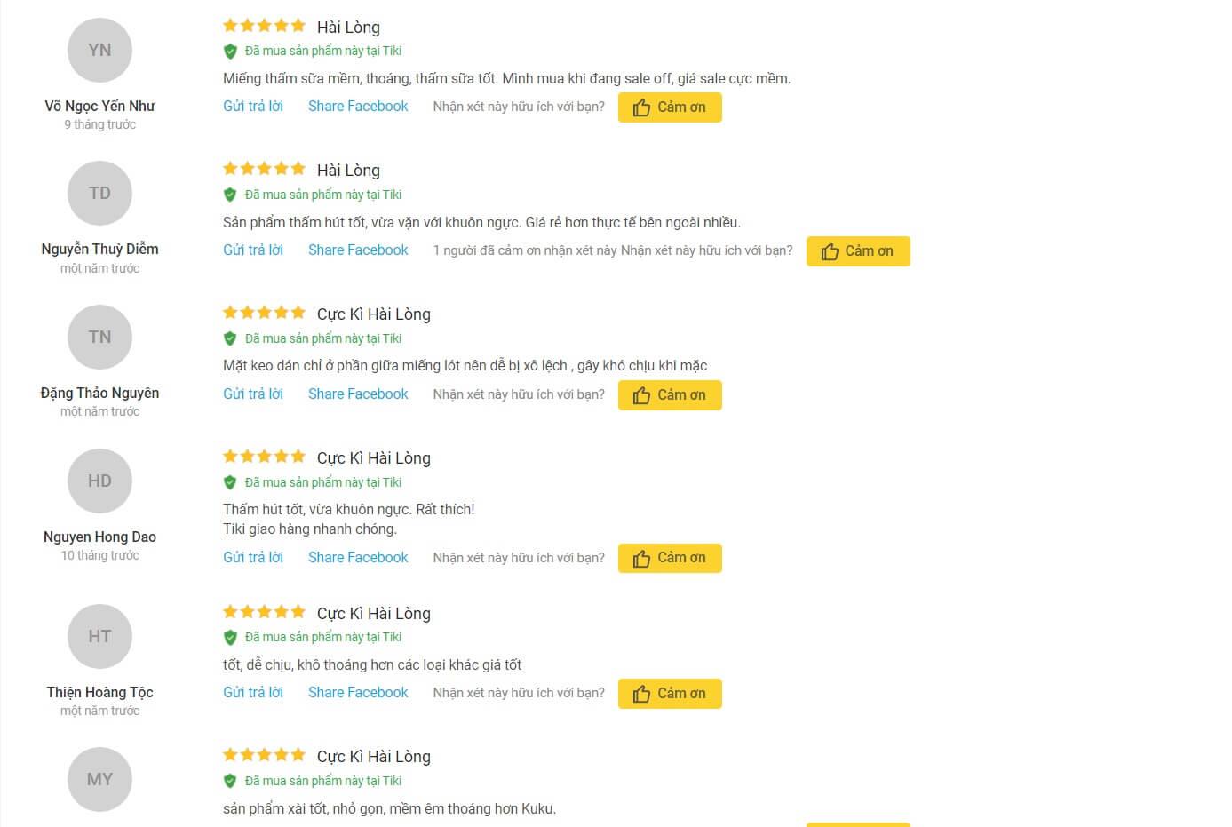 Review về miếng lót thấm sữa ChuchuBaby của khách hàng trên Tiki