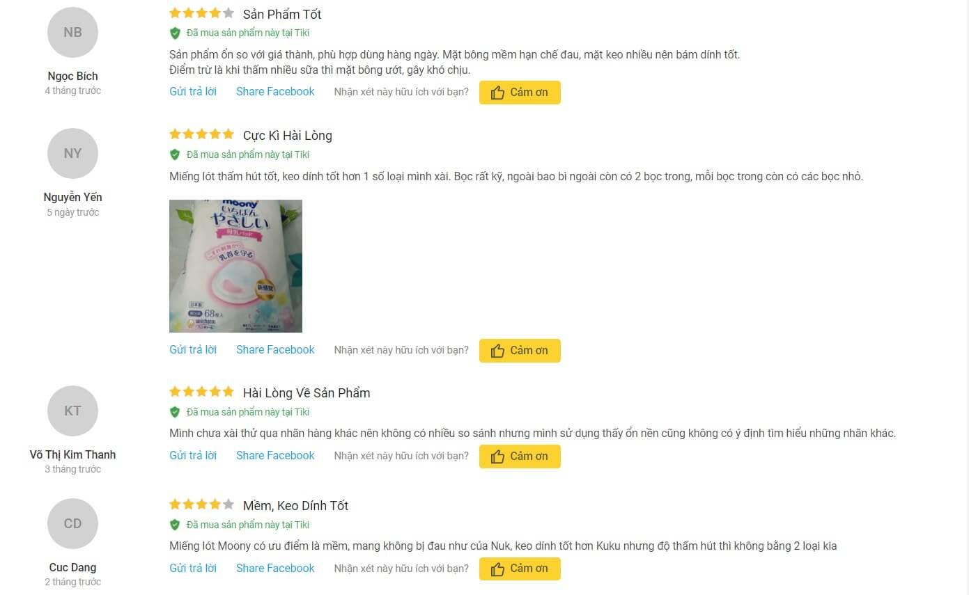 Review về miếng lót thấm sữa Moony 68 miếng trên trang Tiki