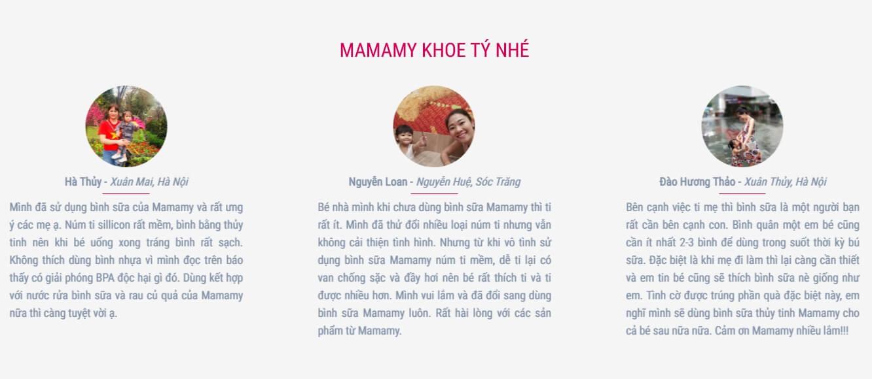 Review về bình sữa thủy tinh Mamamy trên trang mamamy.vn