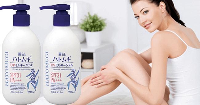 Sữa dưỡng thể Hatomugi UV Milky Gel dùng được cho cả nam và nữ