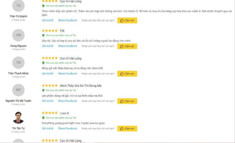 Abbott Grow 2 nhận được nhiều đánh giá tích cực của khách hàng trên trang Tiki