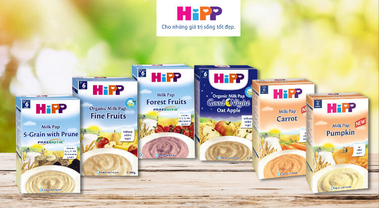 Bột ăn dặm Hipp đa dạng mùi vị cho bé đổi món thường xuyên