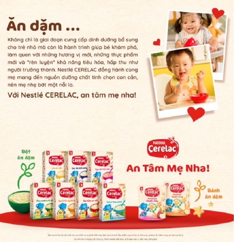 Bột ăn dặm Nestle Cerelac tốt cho hệ tiêu hóa non nớt của bé