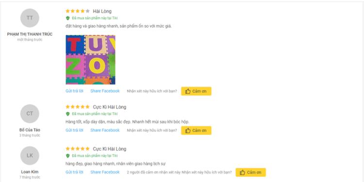 Đánh giá của người dùng về thảm cho bé Thoại Tân Thành