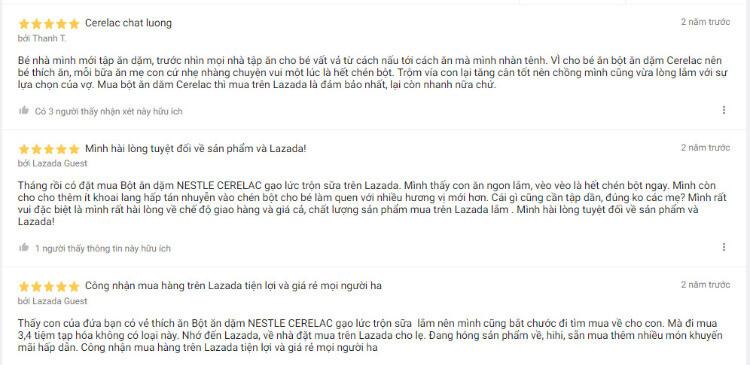 Đánh giá về bột ăn dặm Nestle Cerelac trên trang Lazada