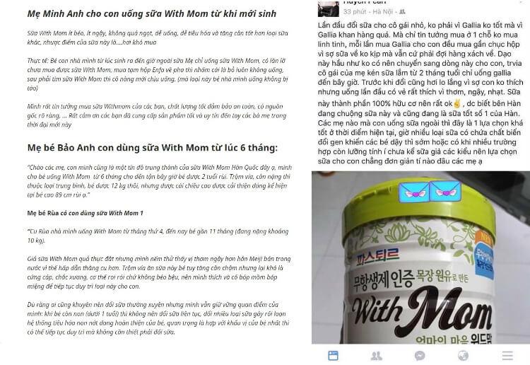 Review của các mẹ về sữa With Mom trên mạng xã hội
