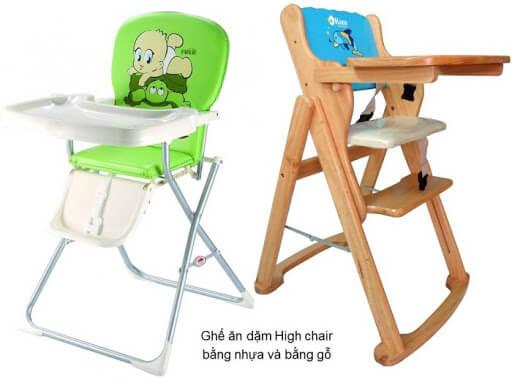 Ghế ăn dặm bằng gỗ và bằng nhựa đều có ưu nhược điểm riêng