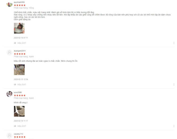 Review của các mẹ khi mua ghế ăn dặm Umoo trên Shopee