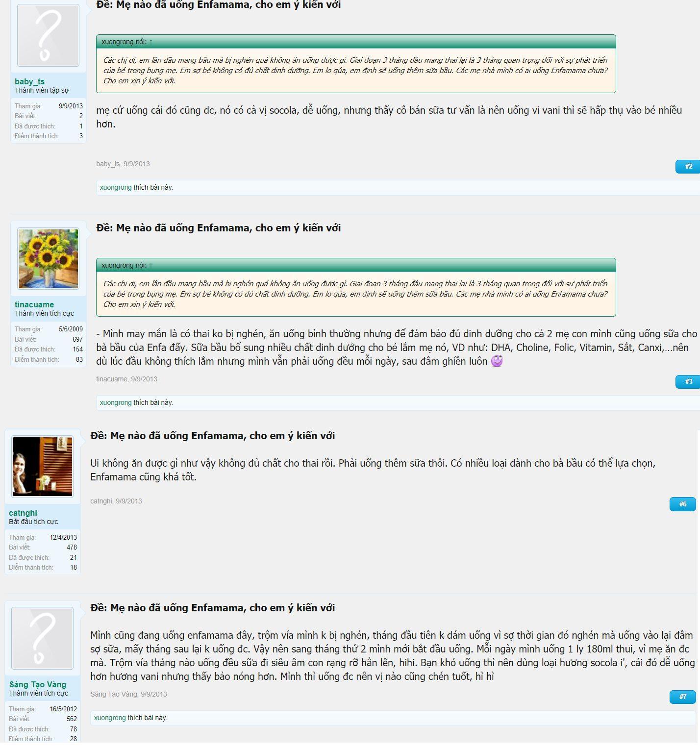 Đánh giá của các mẹ trên diễn đàn lamchame.com về sữa bầu Enfamama A