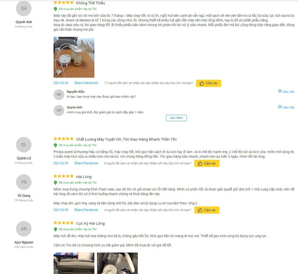 Đánh giá của người dùng về máy hút sữa điện đôi Avent hoa tuyết trên Tiki