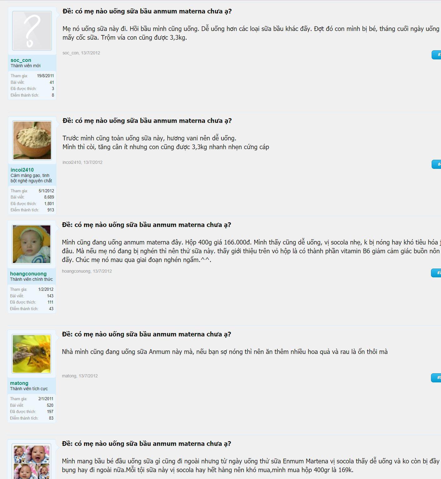 Review trên diễn đàn lamchame.com về sữa bầu Anmum