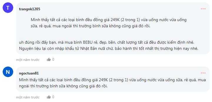 Thảo luận của các bà mẹ về bình sữa Bebu trên webtretho
