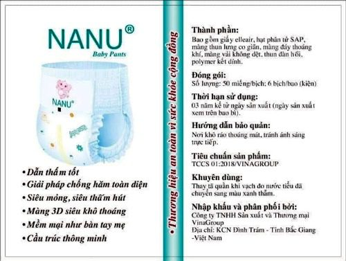 Một số thông tin về bỉm Nanu Baby Pants