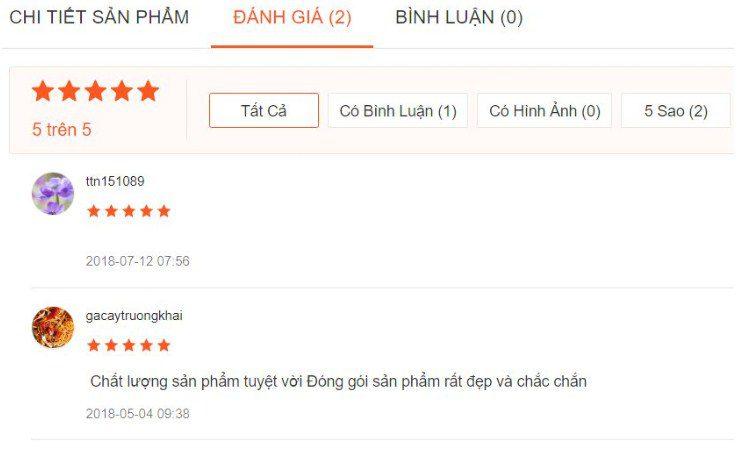Một vài nhận xét của khách hàng mua sản phẩm trên Shopee.vn