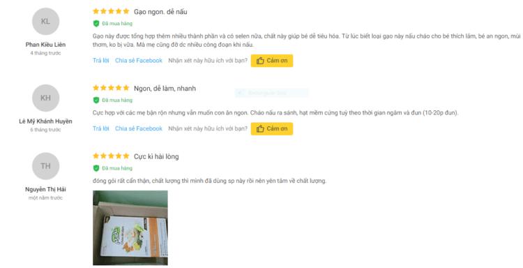 Đánh giá tích cực của người dùng về cháo Mabu hạt vỡ