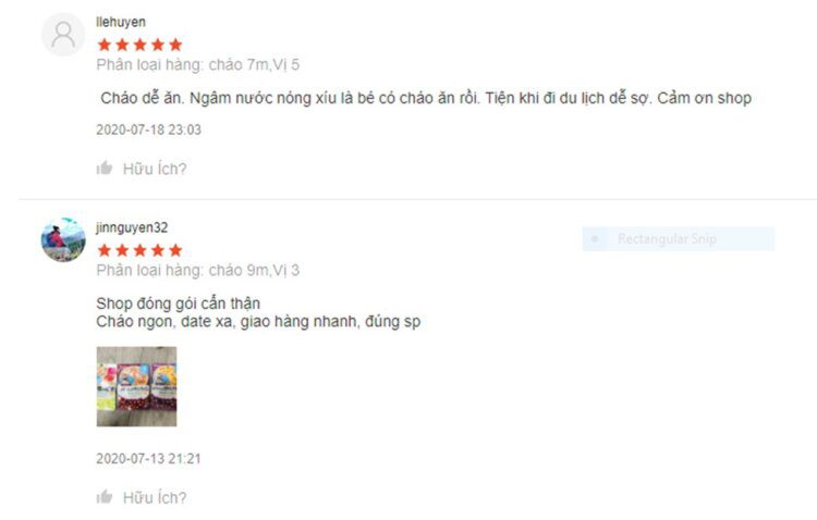 Đánh giá của người dùng về cháo túi Hàn Quốc Maeil