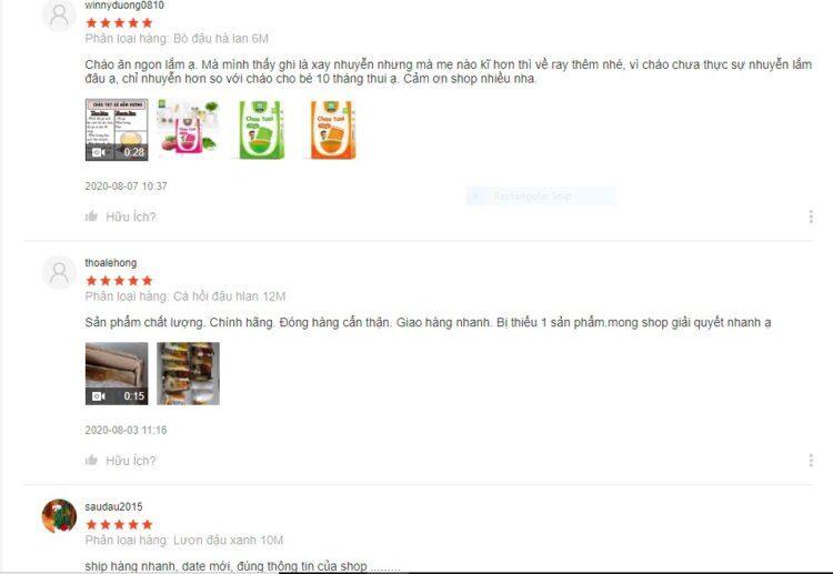 Đánh giá tích cực của người dùng về chất lượng cháo SG Food