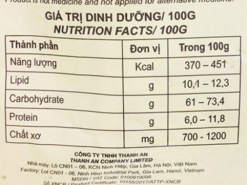 Lượng calo trong ngũ cốc ăn kiêng Việt Đài