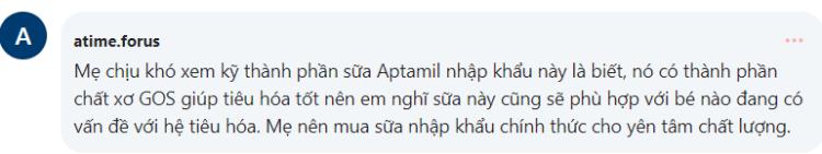 Thảo luận của các mẹ trên diễn đàn webtretho về sữa bột Aptamil