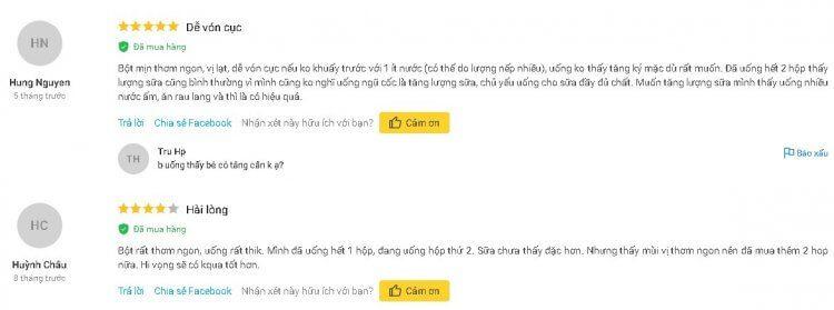 Những phản hồi tích cực của khách hàng mua ngũ cốc MinMin trên Tiki.vn