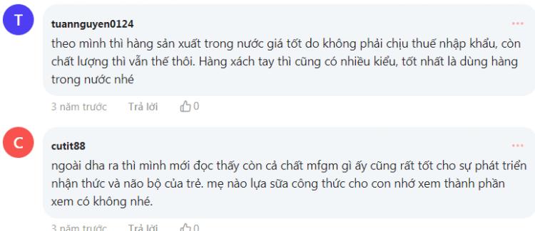 Các phản hồi của mẹ bỉm trên diễn đàn Webtretho