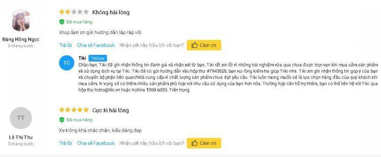 Xe Đạp Ba Bánh Family Có Cần Đẩy Cho Bé nhận được nhiều phản hồi tích cực trên Tiki.vn