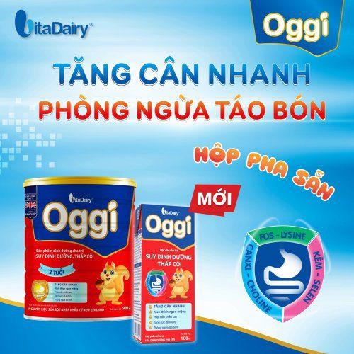 Sữa bột Oggi được sản xuất bởi thương hiệu Việt Nam