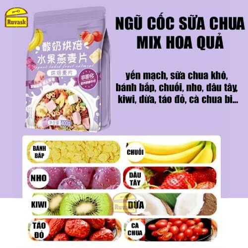 Ngũ cốc sữa chua mix hoa quả hạt Meizhoushike