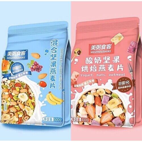 Các loại ngũ cốc mix sữa chua hoa quả Meizhoushike