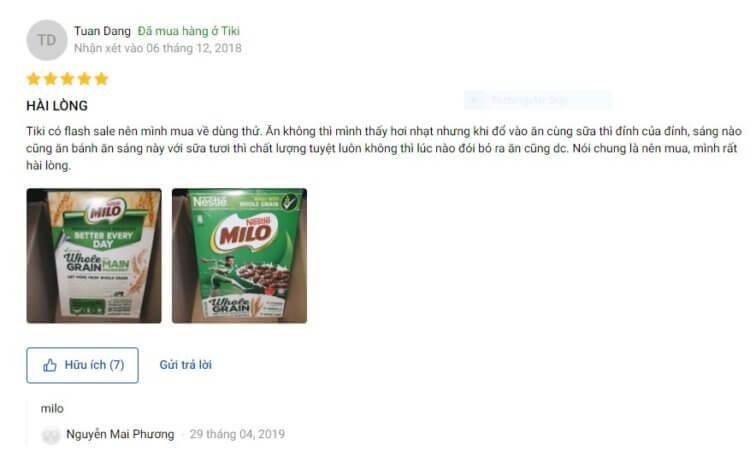 Nhận xét tích cực của người dùng về sản phẩm ngũ cốc viên Milo