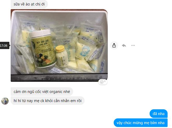 Mẹ bỉm rất hào hứng với hiệu quả mà ngũ cốc mang lại