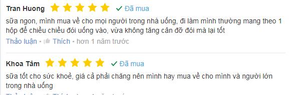Một vài ý kiến đánh giá của người dùng về sữa gạo lứt huyết rồng