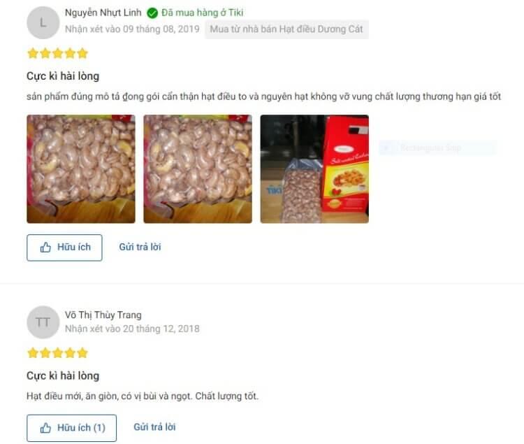 Đánh giá của người dùng về hương vị và giá trị dinh dưỡng của hạt điều