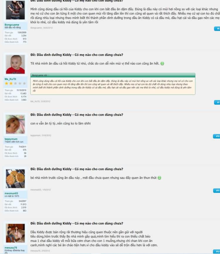 Trên diễn đàn lamchame.com, dầu Kiddy nhận được nhiều quan tâm từ các mẹ