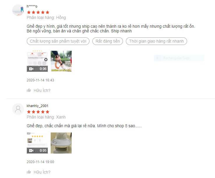 Nhận xét tích cực của người dùng về chất lượng, thiết kế và giá thành của sản phẩm