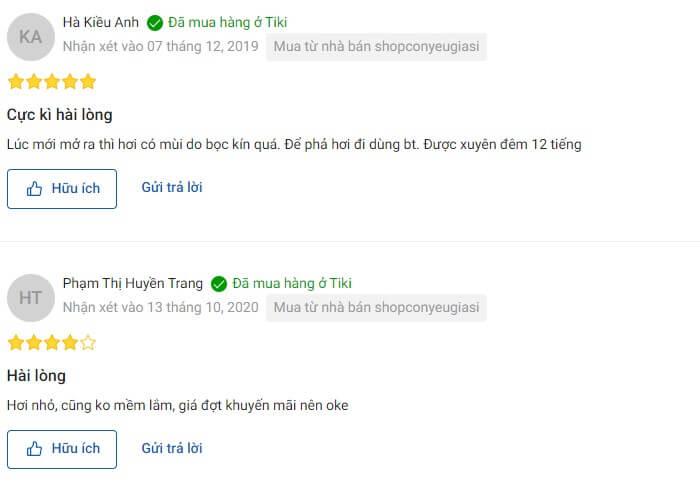 Nhận xét của người dùng trên Tiki