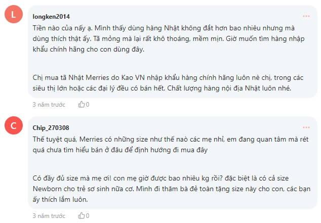 Nhiều bà mẹ dành lời khen ngợi cho bỉm tã Merries trên Webtretho