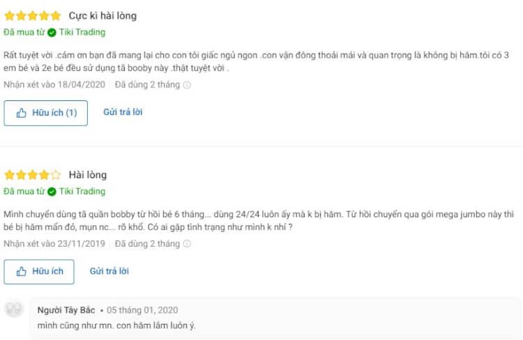 Nhận xét có cả tích cực lẫn tiêu cực của nhiều người dùng trên Tiki.vn