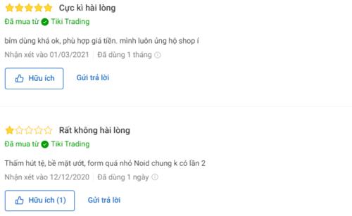 Có nhiều ý kiến khác nhau về dòng bỉm trên Tiki