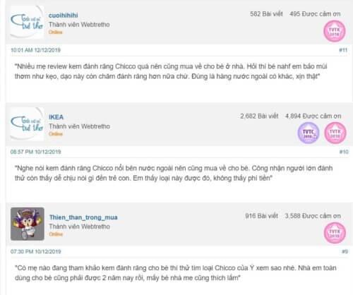 Review của các mẹ về kem đánh răng Chicco