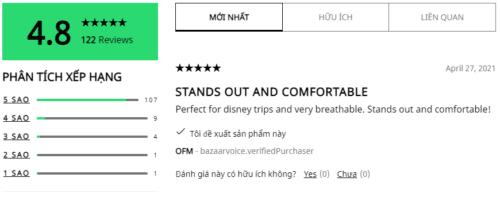 Nhận xét của người mua và dùng sản phẩm trên trang bán hàng của Adidas