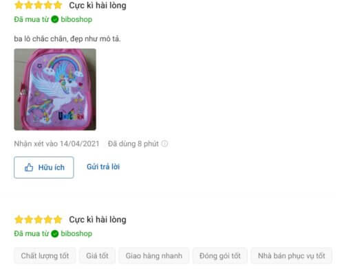 Đánh giá tích cực về balo Pony cho bé