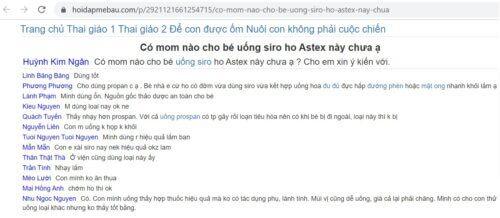 Review siro ho Astex trên diễn đàn