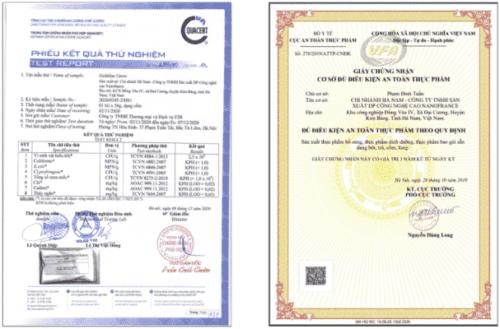 Chứng nhận đủ tiêu chuẩn sử dụng của sản phẩm do Bộ Y tế cấp